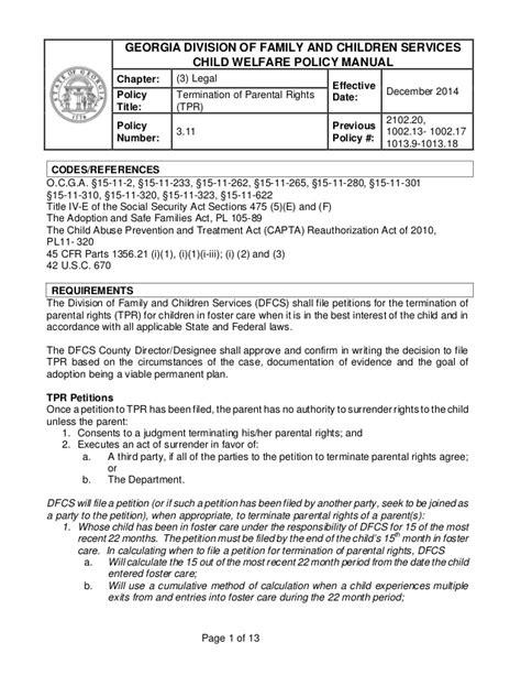 termination  parental rights tpr