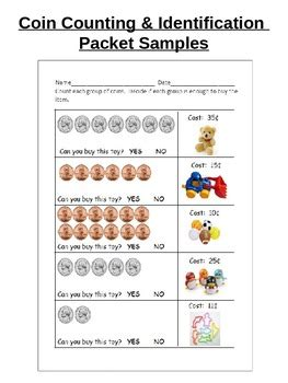 coin id  counting worksheets  assessment pennies