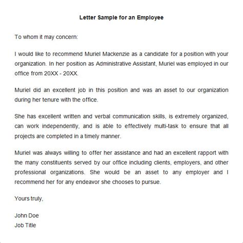 letter of recommendation template for employee 18 employee recommendation letters pdf doc free premium templates