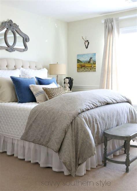 gorgeous farmhouse style bedroom  french blue  grey