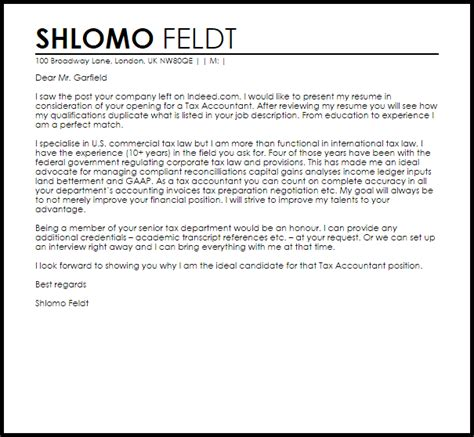 tax accountant cover letter sample cover letter