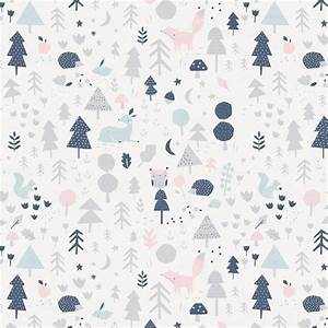 Gray and Pink Baby Woodland Fabric by the Yard Pink