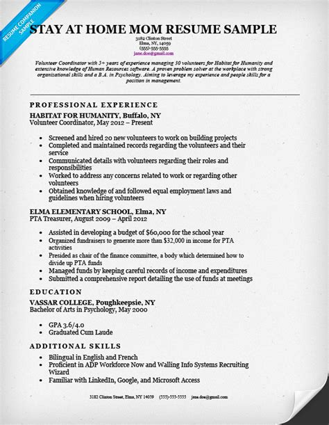 Resume Stay At Home by Resume For Work At Home Stay At Home Resume Sle