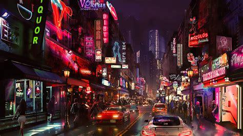 wallpaper cyberpunk future world  art