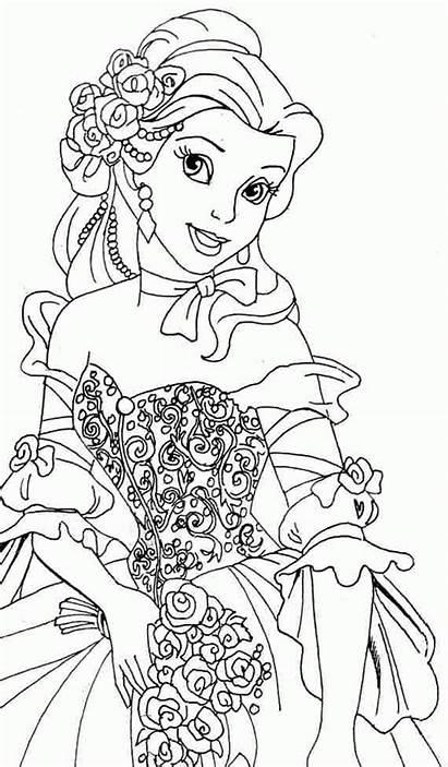 Coloring Belle Princess Disney Tranh Mau Chua