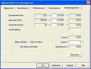 Materialverbrauch Berechnen : glass eye 2000 tutorium lektion 11 eigenschaften des entwurfs und durchsuchen ~ Themetempest.com Abrechnung