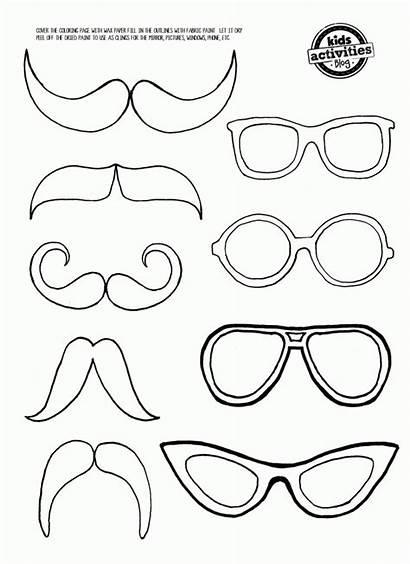 Coloring Moustache Glasses Mustache Eye Printable Glass