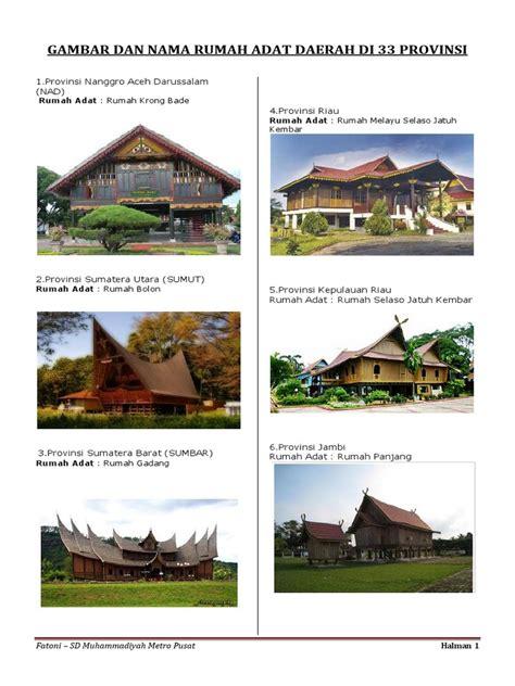 gambar  nama rumah adat daerah   provinsi