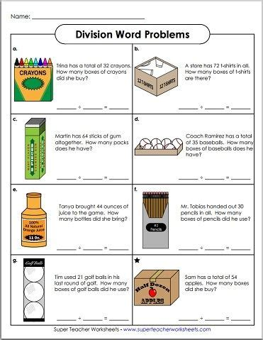 Practice Makes Perfect! Check Out This Basic Division Word Problem Worksheet!  Math Super