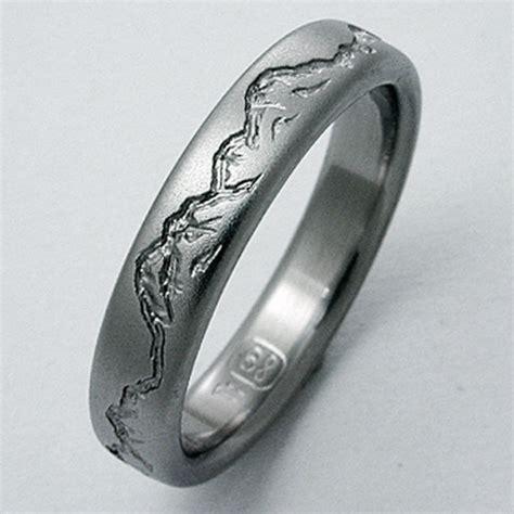 montana  titanium ring  mountains titanium wedding