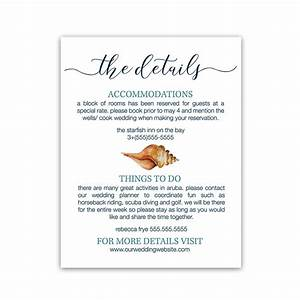 Beach Wedding Guest Additional Information Insert