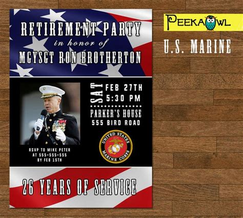 printable military retirement party invitation card