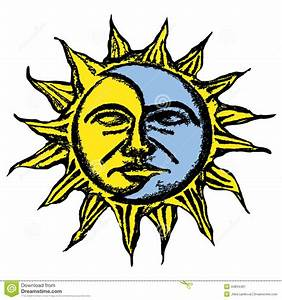 Sun and moon face sketch stock illustration. Image of nose ...