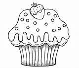 Cupcake Cupcakes Coloring Desenho Cup Colorir Cake Kek Strawberry Moldes Muffin Boyama Desenhos Chocolate Riscos Pintar Molde Printable Cakes Passo sketch template