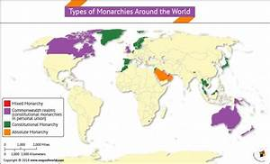 World Map Highlighting Types Of Monarchies Around The