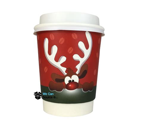 8oz Christmas Paper Coffee Cup   Double Walled Reindeer Design