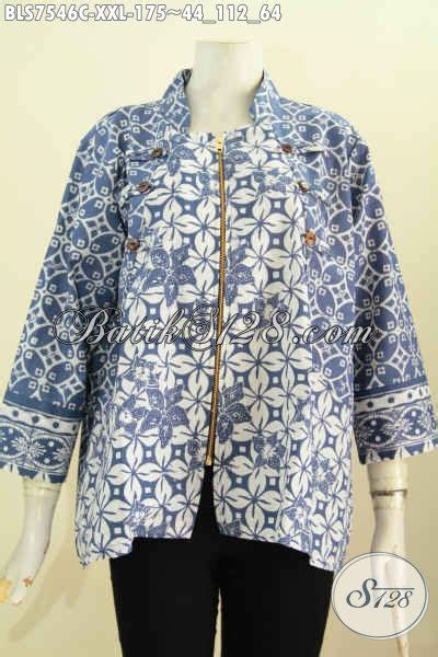 baju batik wanita big size blus ayus warna biru motif