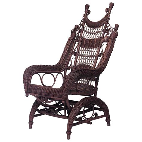 19th century american ornate high back wicker rocking