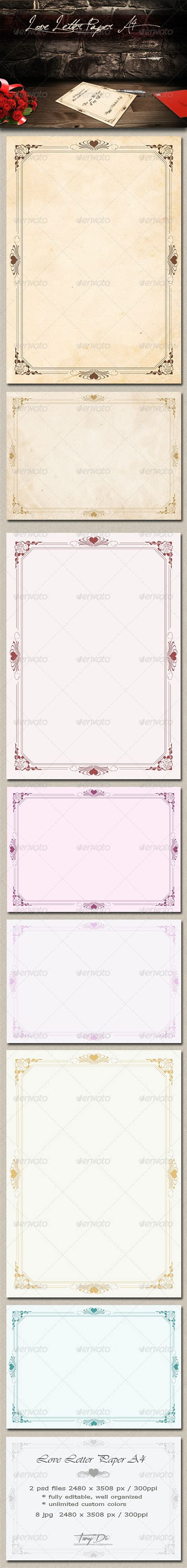 Love Letter Paper A4 by TanyDi GraphicRiver