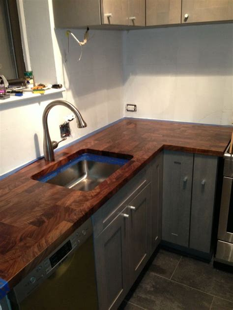 kitchen islands with butcher block tops eco pro walnut countertop with undermount sink cutout