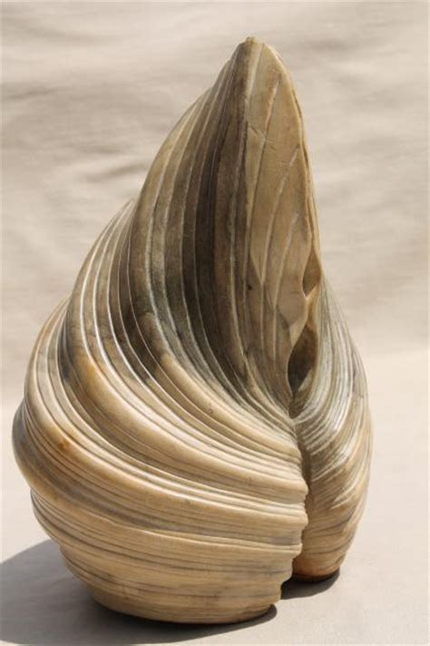 natural wood carving seashell sculpture large hand carved beach sea shell