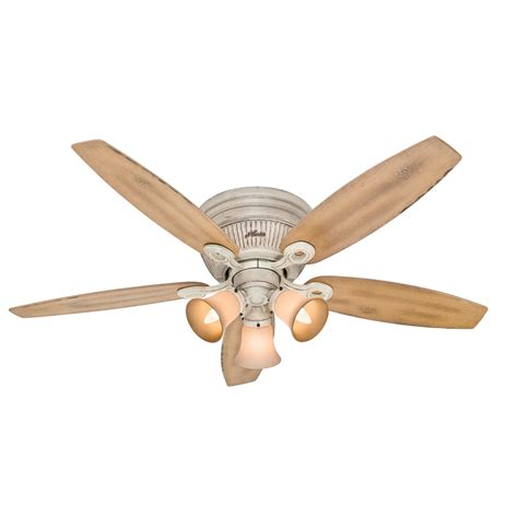 hunter low profile ceiling fan with light shop hunter wellesley low profile 52 in burnished creme