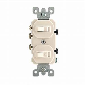 Leviton 15 Amp 3-way Combination Double Switch  Light Almond-r66-05241-0ts