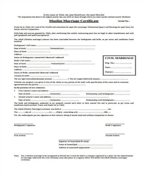 sample marriage contract forms   ms word