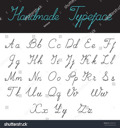 Handmade Calligraphic Script Font Linear Vector Stock