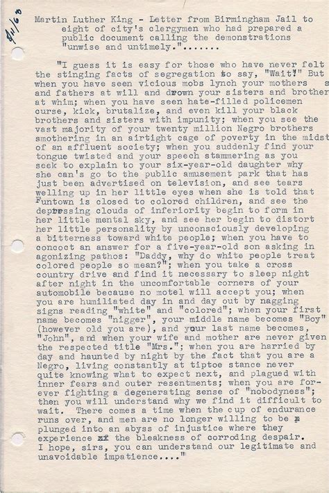 Letter From Birmingham Jail Summary Articleezinedirectory