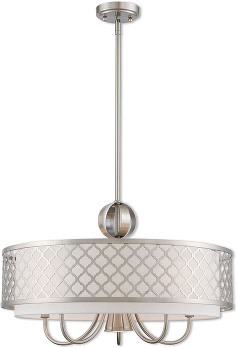 brushed nickel drum chandelier livex 41105 91 arabesque brushed nickel 24 quot drum hanging