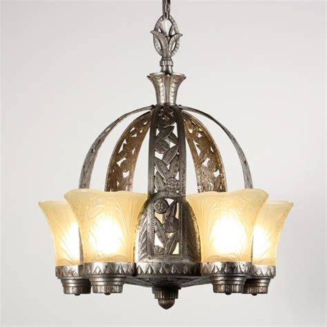 antique deco slip shade chandelier nickel finish