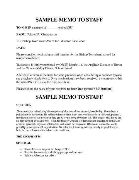 Staff Meeting Memo Template by 10 Best Images Of Exle Of Memo To Staff Sle Memo