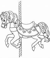 Coloring Carousel Pages Horse Animals Printable Getcolorings Pa sketch template