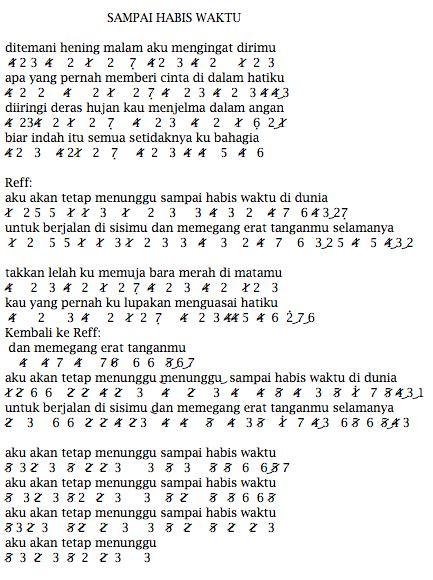 not pianika laskar pelangi nidji not angka lagu terbaru not angka lagu