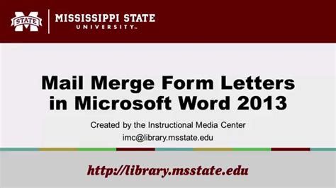 mail merge form letters  microsoft word