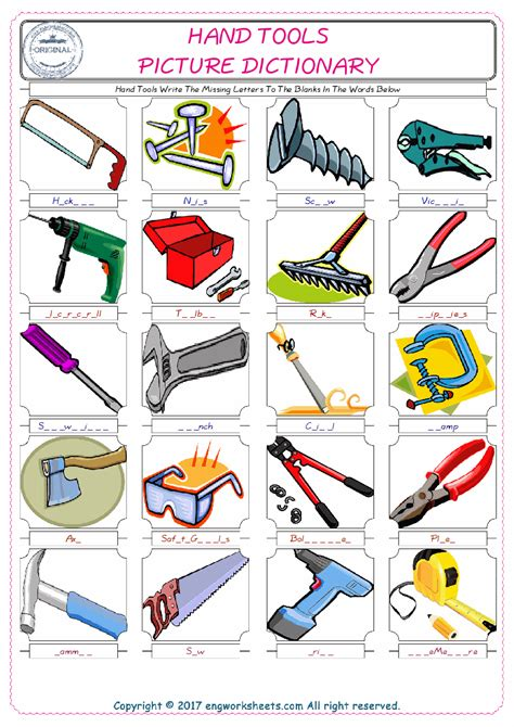 hand tools esl printable picture english dictionary