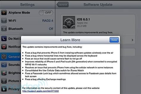 iphone 5 software update ios 6 0 1 released fixes iphone 5 ota software update