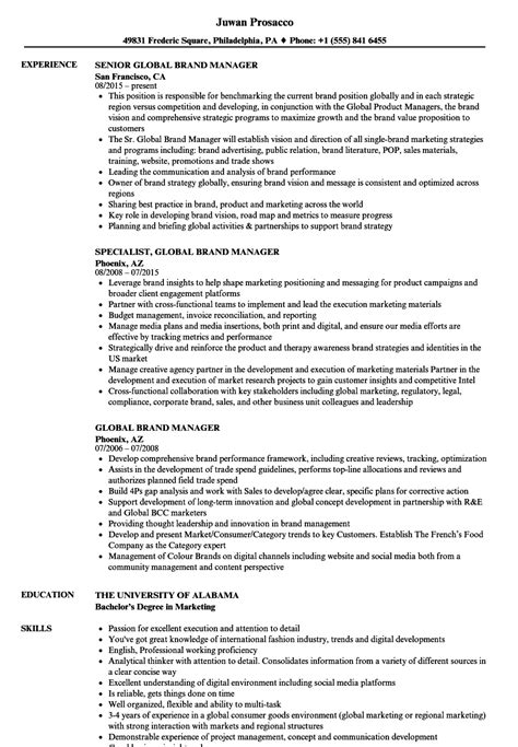 Brand Manager Resume by Global Brand Manager Resume Sles Velvet