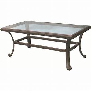 darlee 24quot x 42quot patio coffee table with glass top in With 42 x 42 coffee table