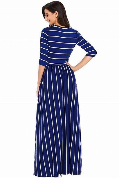 Maxi Casual Pocket Navy Striped Polishedpersonalstyle Dresses