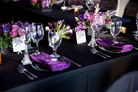 purple and black table settings purple and black wedding table setting the celebration society