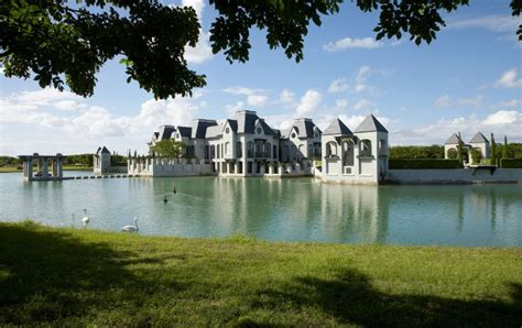 spectacular house surrounded by moat