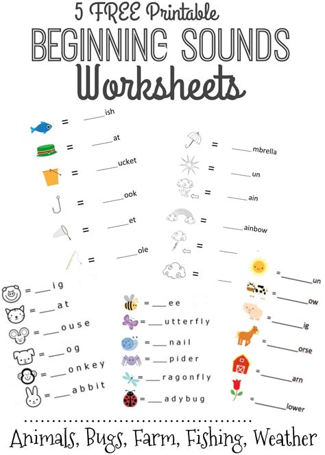 beginning sounds letter worksheets  early learners