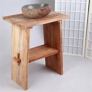 Teak Holz Zen Waschtisch Natur 60x40x74cm