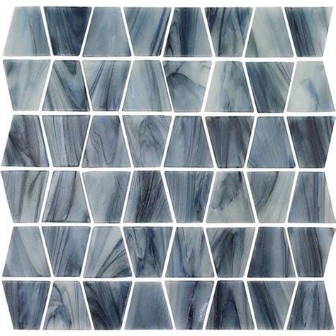 trapezoid stained glass mosaic tile grey mineral tiles