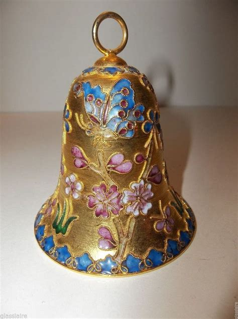 vintage cloisonne enamel bell christmas ornament butterflies flowers