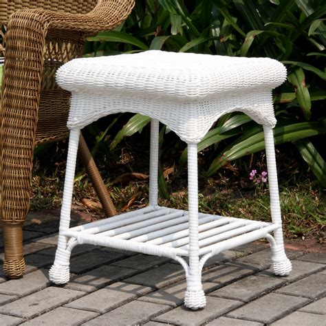 outdoor white resin wicker end table
