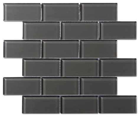 charcoal gray glass 2 quot x4 quot mosaic subway tile 8mm