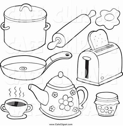 Kitchen Clipart Items Utensils Drawing Cartoon Clip